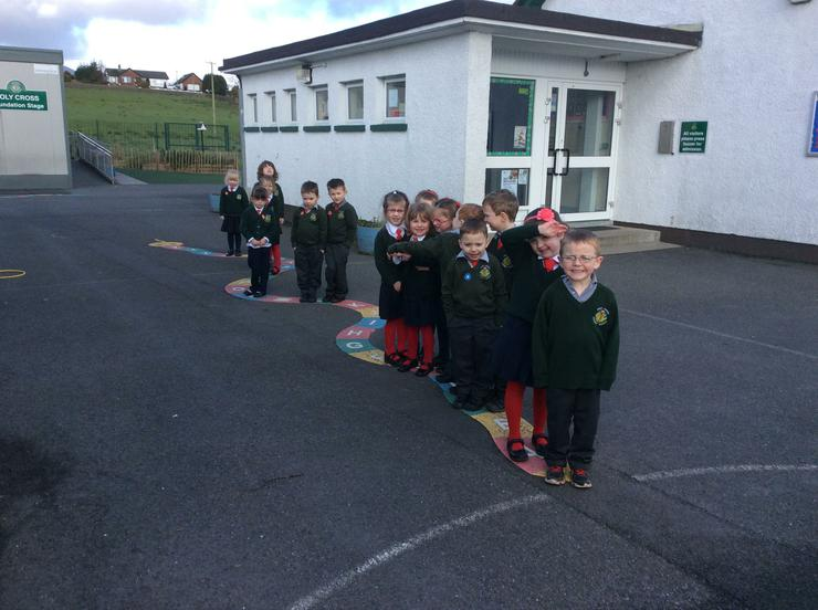 Learning the alphabet and capital letters- We went outside and stood on the letter that our name begins with. A lot of girls had to squeeze onto the letter E! (Emily, Eimear, Ella and Ellen)