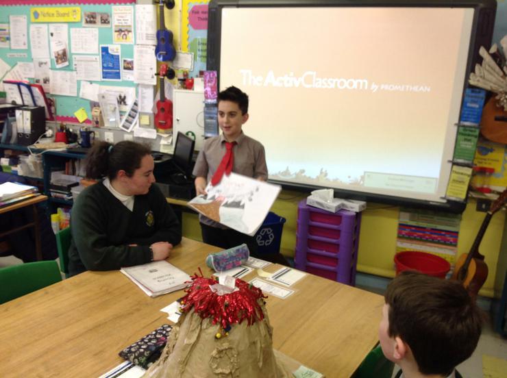 JJ presenting his art work based on Mt Vesuvius
