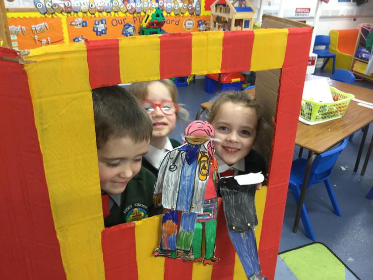 """The children made some """"people who help us"""" puppets and put on a show for the rest of the class telling us all about the job they do."""