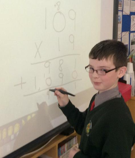 Jonathan exploring long multiplication