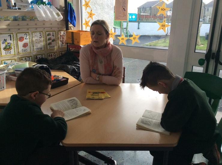 Corey and Ryan reading with Kellie