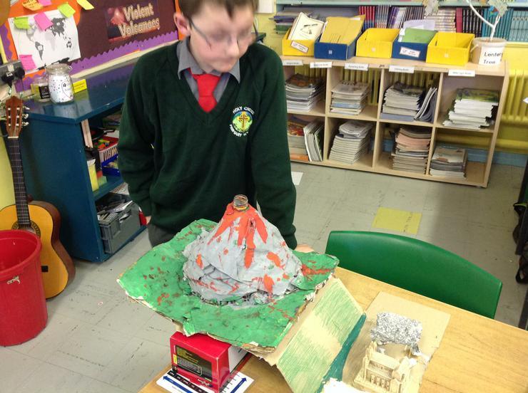 Ryan presenting his model of Pompeii.