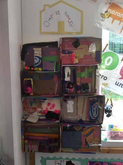 P1 House- During our Buildings topic we decided to pair up and make room interiors from scrap materials. When we finished, we put them together to make our very own house! Can you spot the different rooms?