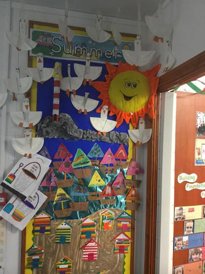 """Our new summer display. We made cute little beach huts from coloured lollipop sticks, seagulls from paper plates, boats from 2D shapes and we even wrote some """"summer bucket lists."""""""