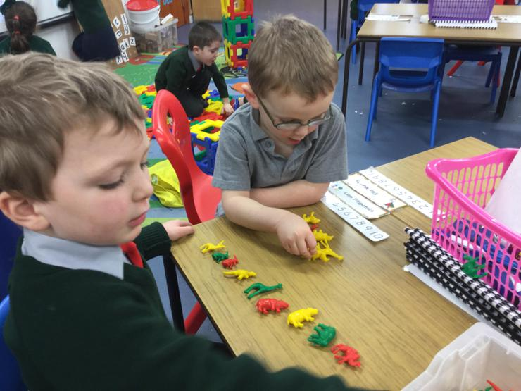 Conor and Aodhan made great patterns using the colourful animals!