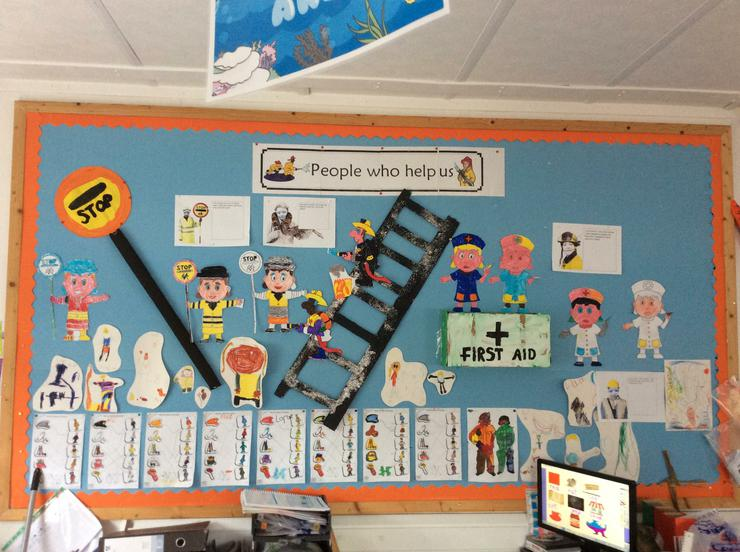 """2. """"People who help us"""" Display- We looked at people who help us in the community and picked our 3 favourites. We enjoyed making a ladder, First Aid Kit and Lollipop Stick from scrap materials. Can you spot some of the P1 people who help us in the purple mash pictures?"""