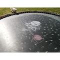 Ella (& Henry's) chalk creation on the trampoline.