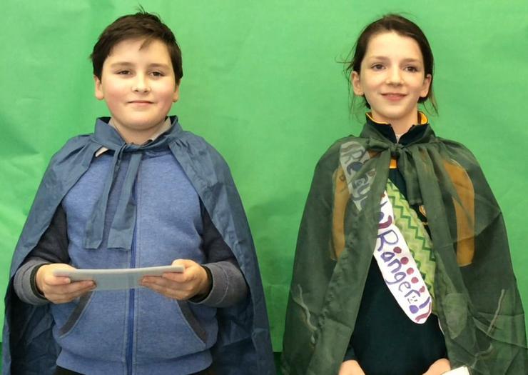 Ruairí and Úna represent Holy Cross P.S
