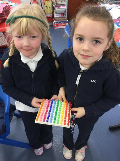 Eimear and Isla made a beautiful pattern on the peg boards during play time.
