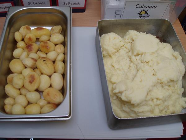 Roast potatoes and mashed potatoes