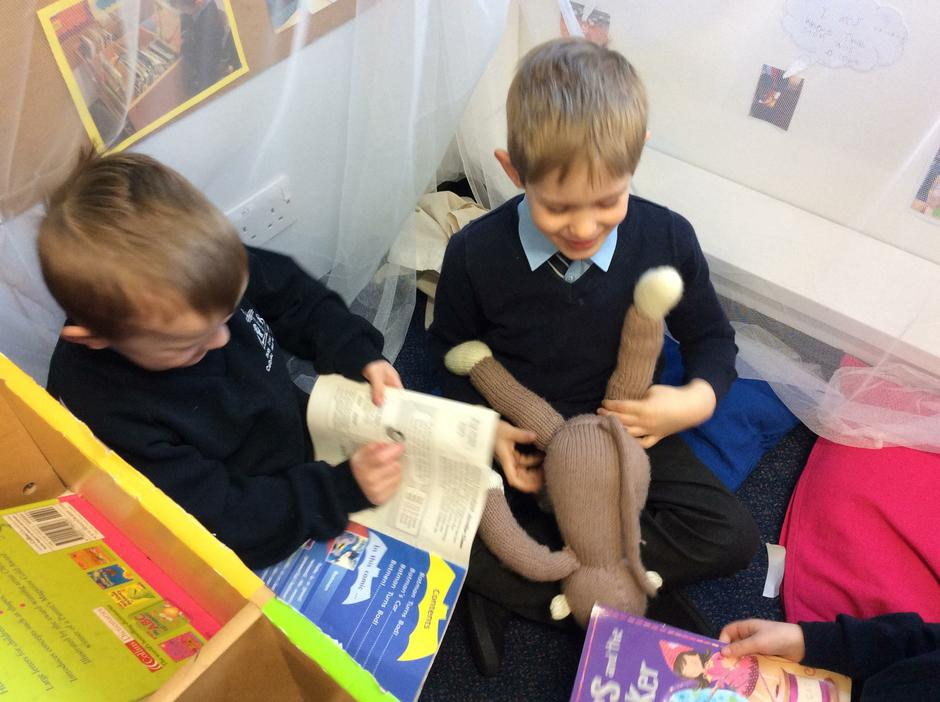 We read to each other and our toys