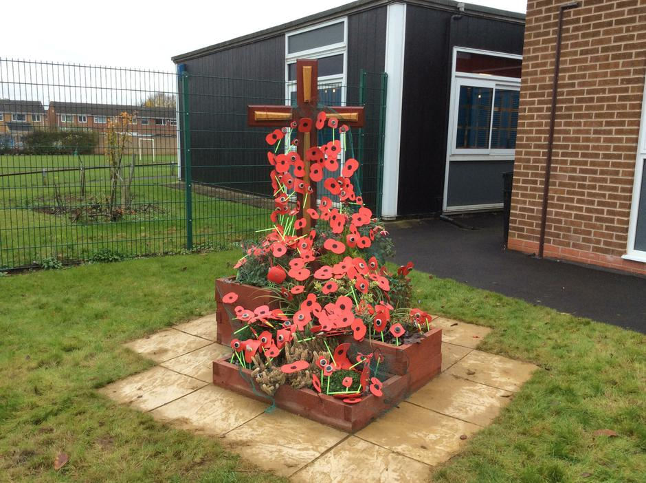 Poppies made for our cross - Remembrance Day 2016