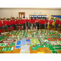 Yr 4 children admire the completed Olympic City.
