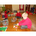 Reception following instructions to build a house.