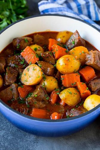 Her favourite dinner is stew.