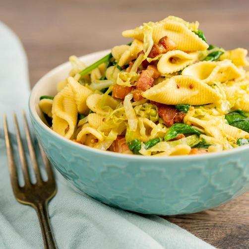 Mrs Venn - Cabbage and bacon pasta
