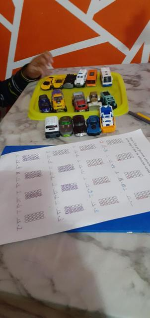 Glazen used 15 cars to help him to subtract from 15!