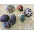 Some stunning painted rocks by children & Staff