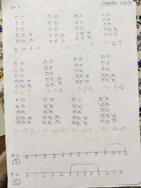 Using ten frames and number lines.