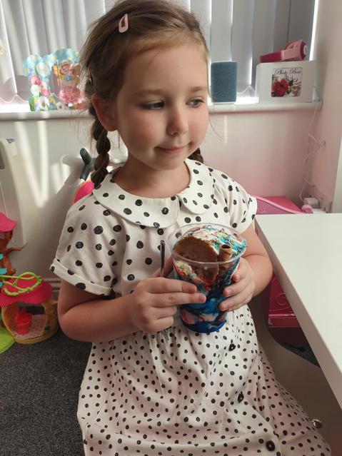 Enjoying ice cream!