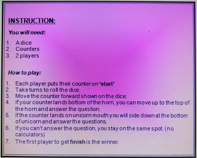 Instructions to play the unicorn game :)