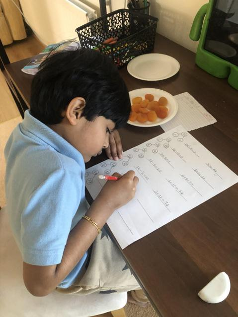 Problem solving using dried apricots and addition and subtraction number sentences!