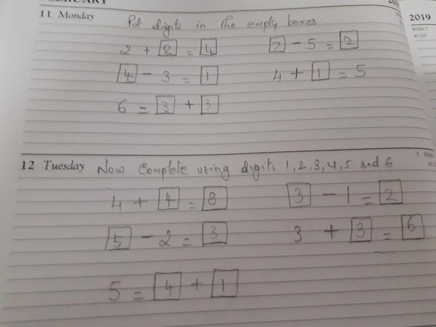 Solving addition and subtraction problems.