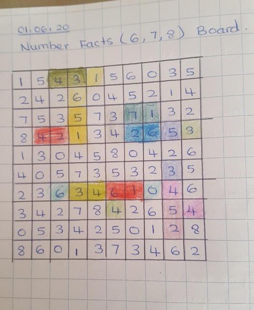 Playing a maths game.