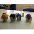 Some painted eggs by the children at school