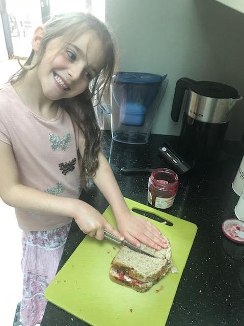 Making a sandwich for my brother