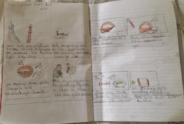 Storyboard of The Lighthouse Keeper's Lunch.