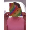 A beautiful rainbow mask!