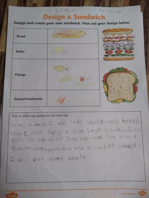 Designing a healthy sandwich! Great handwriting!