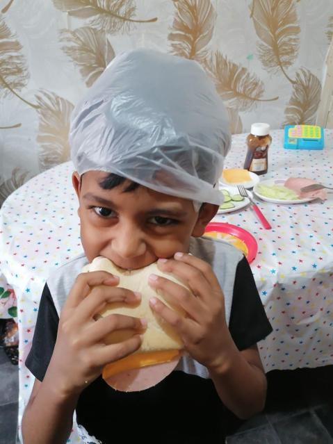 Enjoying a healthy sandwich