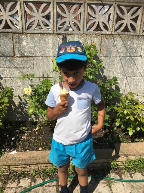 Enjoying my ice cream