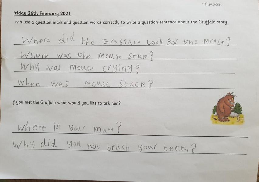 Questions to ask the Gruffalo!