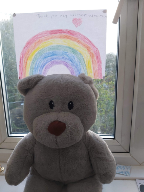 A rainbow to brighten the window and teddy :)