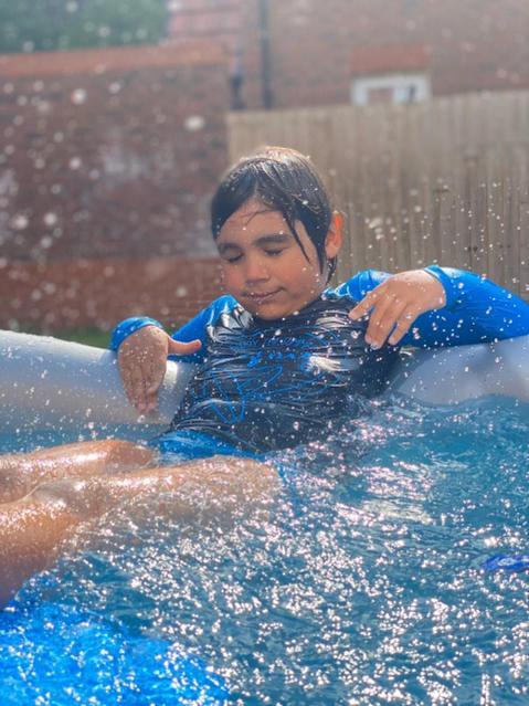 Splashing in the pool.