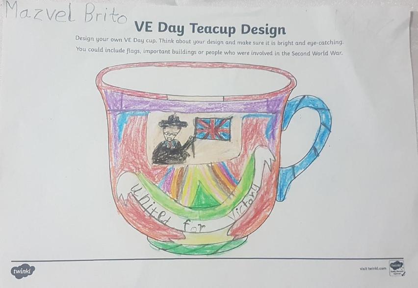 A super teacup design to celebrate VE Day.