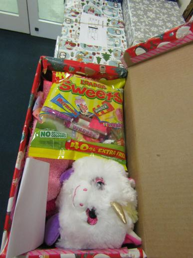 The boxes are filled with fun and practical gifts