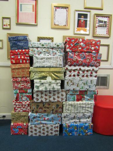 We collected 34 boxes to send to Romania.