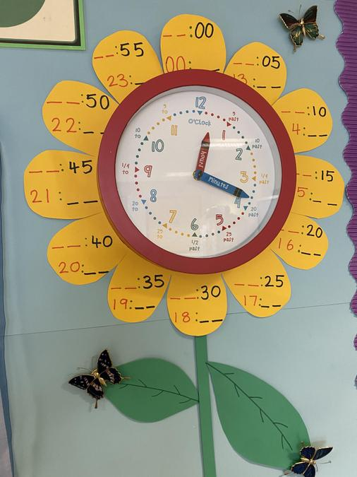 This is the 4T maths display. Remember, the minute hand is longer than the hour hand.