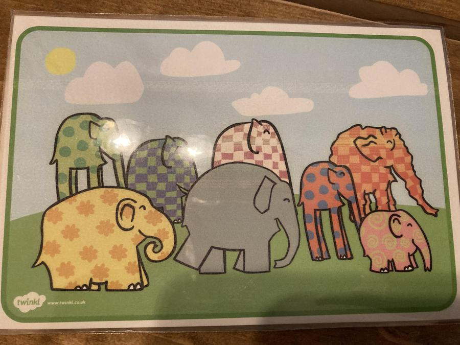 Talk about the different sizes of the elephants. Which is your favourite pattern and why?