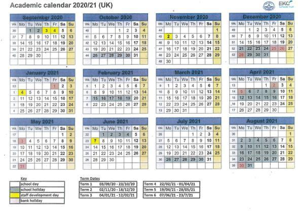 Academic Diary 2020 - 2021