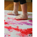 Painting with bubble wrap taped to your feet!