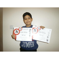 Ruben earned his 8th Kup and 9th Kup in Taekwon-do