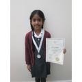 Dhaksha's Ballet medal and certificate!