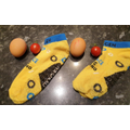 Socks, eggs and tomato