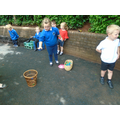 Darcie and Amber won the throwing into a container game