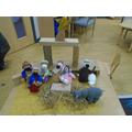 Knitted nativity scene